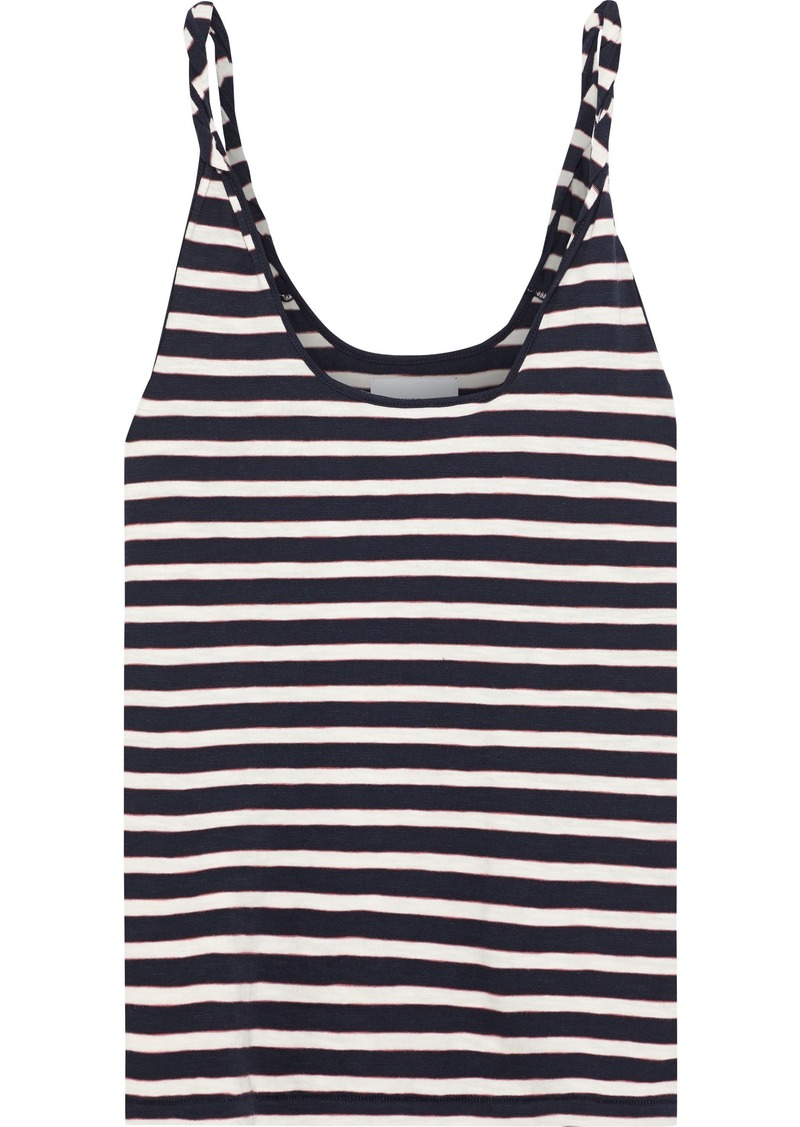 Current/elliott Woman Twisted Striped Cotton-jersey Tank Navy