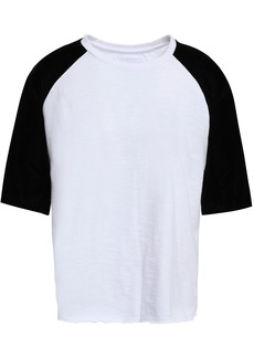 Current/elliott Woman Velvet-paneled Cotton-jersey T-shirt Black