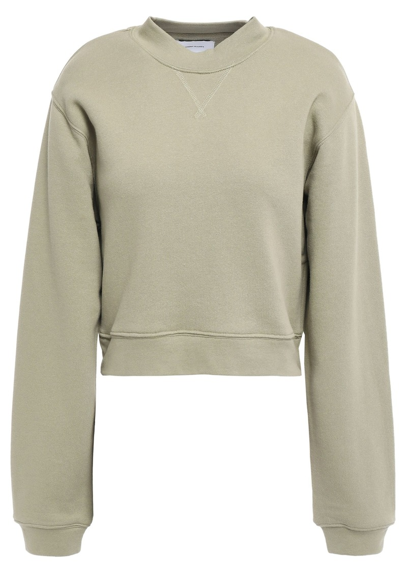 Current/elliott Woman Zip-detailed Cropped French Cotton-terry Sweatshirt Army Green