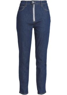 Current/elliott Woman Zip-detailed High-rise Skinny Jeans Dark Denim