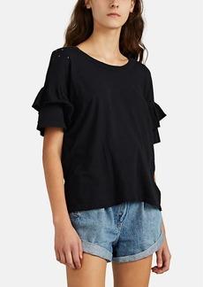 Current/Elliott Women's Roadie Shredded Ruffle-Sleeve T-Shirt