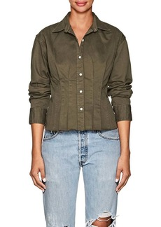 Current/Elliott Women's Tella Cotton Twill Pintuck Blouse