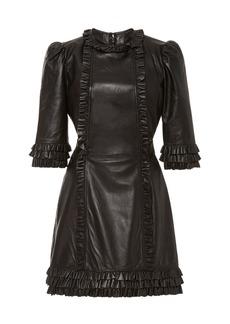 Current/Elliott x The Vampire's Wife Kate Ruffled Leather Mini Dress
