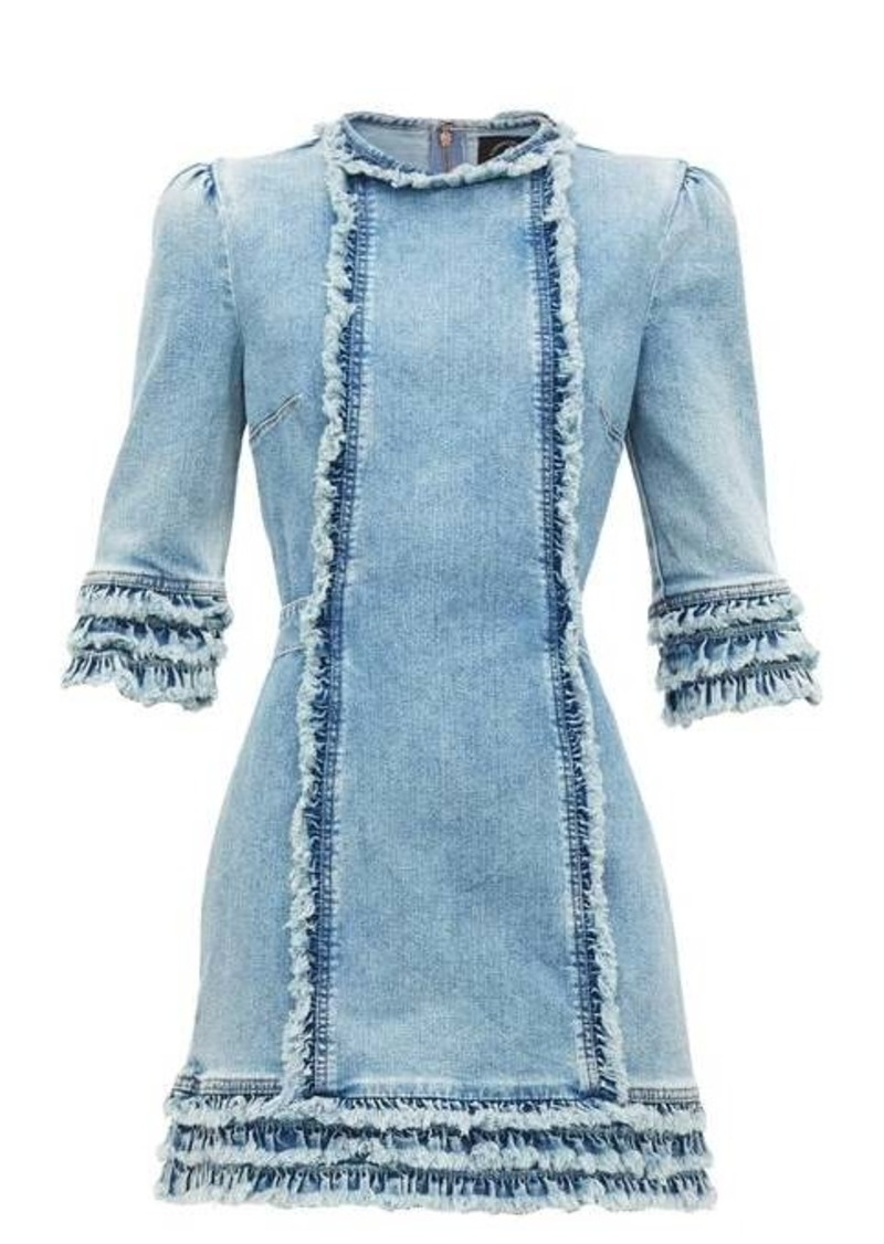 Current/Elliott X Vampires Wife Ruffled denim mini dress