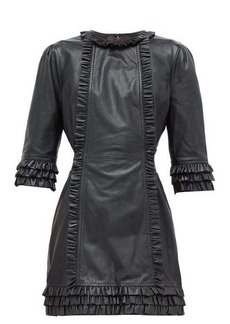 Current/Elliott X Vampires Wife Ruffled leather mini dress