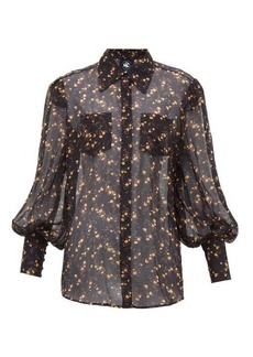 Current/Elliott X Vampires Wife Runway floral-print sheer chiffon blouse