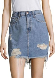 Current/Elliott Distressed Denim Mini Skirt