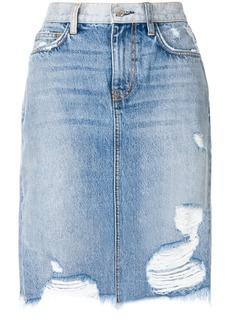 Current/Elliott distressed high-waisted skirt