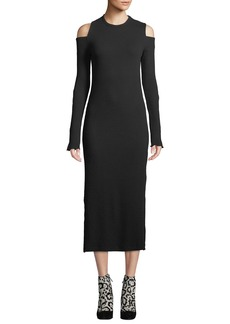 Current/Elliott Going Steady Ribbed Cold-Shoulder Long Dress