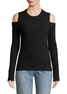 Current/Elliott Going Steady Ribbed Cold-Shoulder Top