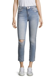 Current/Elliott Metallic-Trimmed Distressed Jeans