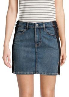 Current/Elliott Mini Contrast Denim Skirt