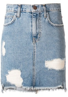 Current/Elliott ripped denim mini skirt