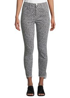 Current/Elliott Stiletto Super-High Waist Snow Leopard Pants