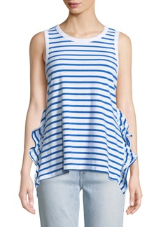 Current/Elliott Striped Side-Split Ruffle Muscle Tank