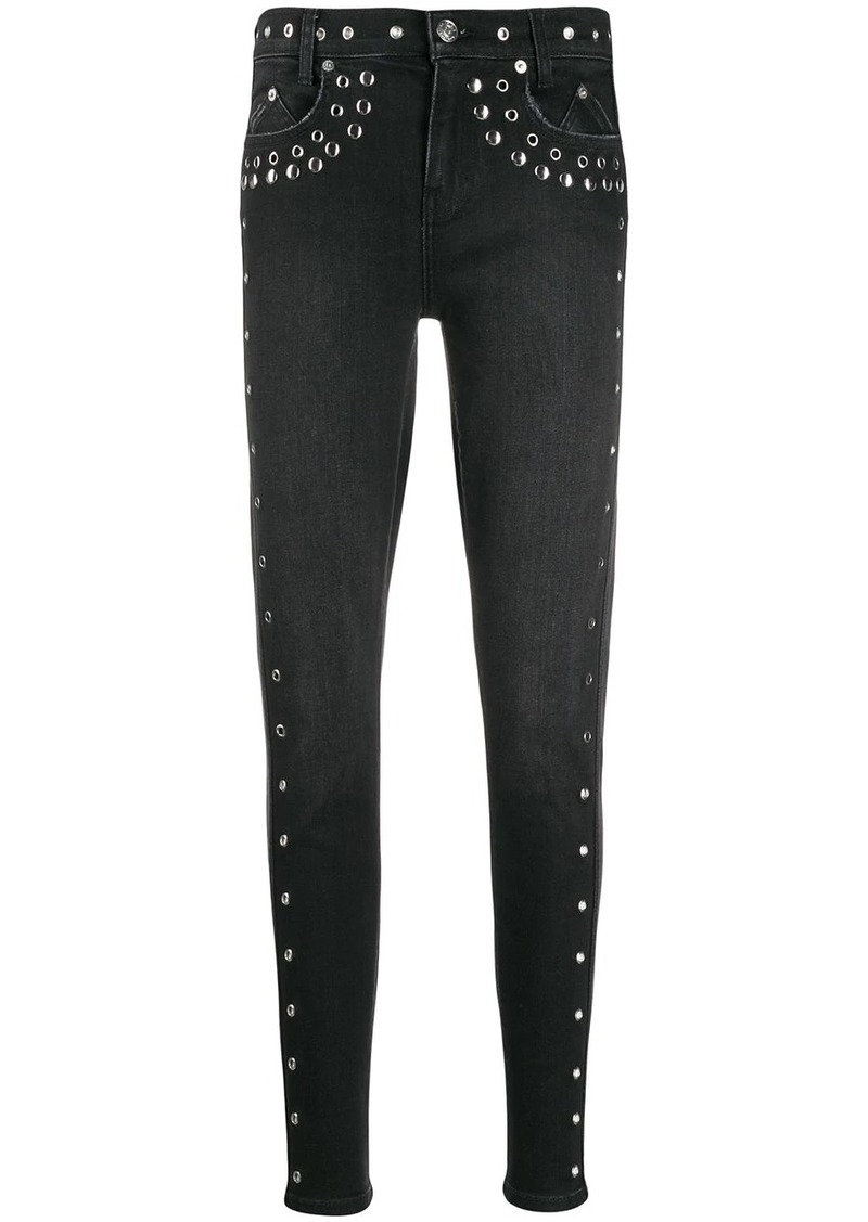 Current/Elliott studded high-rise skinny jeans