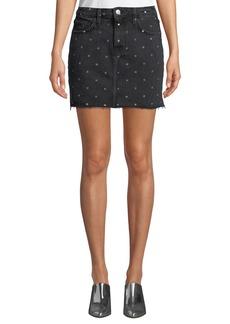 Current/Elliott The 5 Pocket Dot-Print Denim Mini Skirt