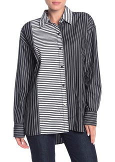 Current/Elliott The Allen Stripe Colorblock Shirt