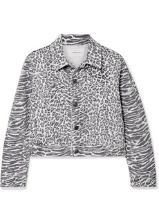 Current/Elliott The Baby Trucker Leopard-print Denim Jacket
