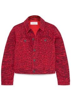 Current/Elliott The Baby Trucker Leopard-print Denim Jacket