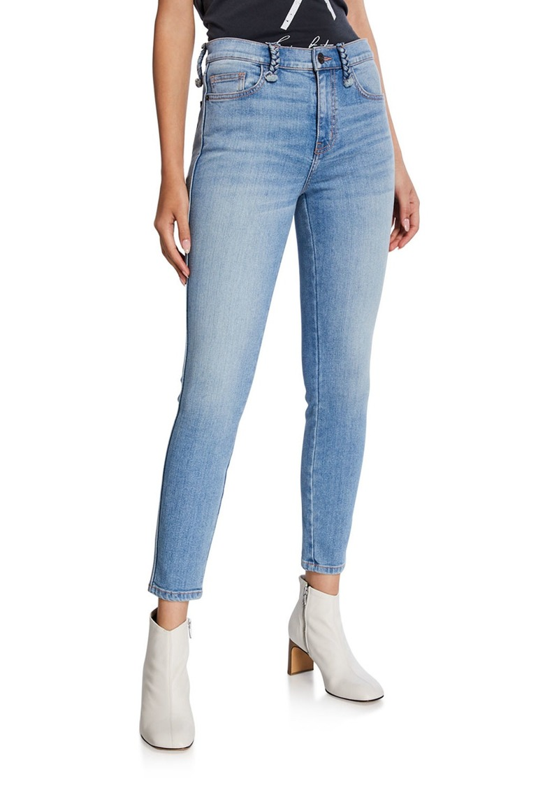 Current/Elliott The Braided High-Waist Stiletto Skinny Jeans