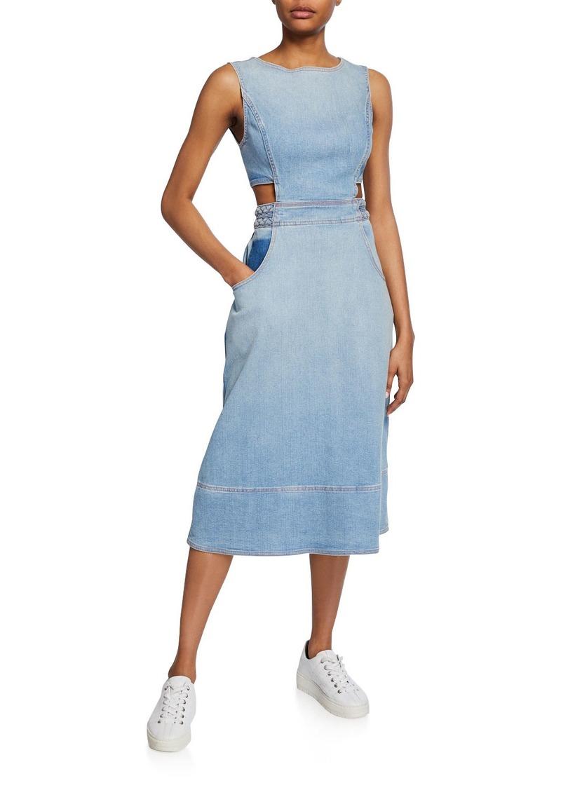 Current/Elliott The Braided Nightfall Sleeveless Denim Cutout Dress