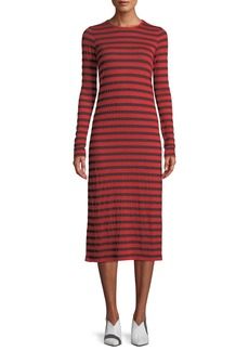 Current/Elliott The Breton Striped Long-Sleeve Midi Dress