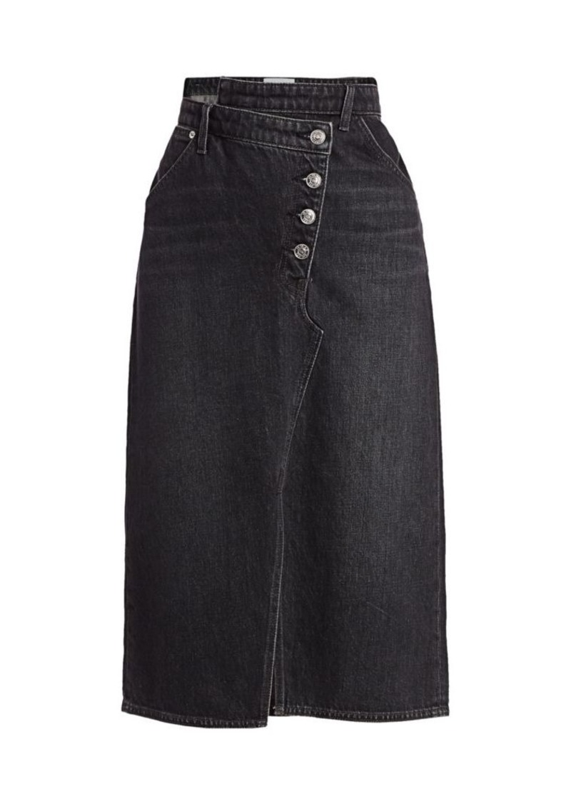 Current/Elliott The Cecilia Asymmetrical Denim Midi Skirt