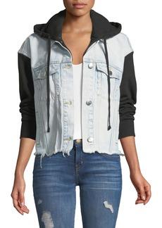 Current/Elliott The Celyn Hooded Combo Denim Jacket