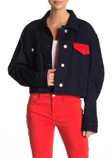 Current/Elliott The Collin Cropped Contrast Denim Jacket