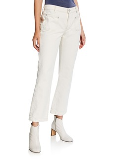 Current/Elliott The Cropped Boot-Cut Patch-Pocket Jeans