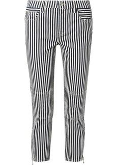 Current/Elliott The Cropped Lexton Striped High-rise Slim-leg Jeans