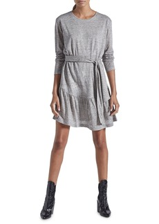 Current/Elliott The Crystal Heathered Tie-Waist Long-Sleeve Dress