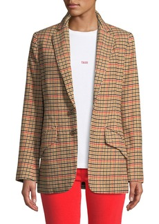 Current/Elliott The Date Night Two-Button Check Blazer
