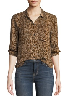 Current/Elliott The Derby Leopard-Print Button-Down Top