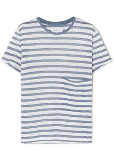 Current/Elliott The Drop Pocket Striped Linen T-shirt
