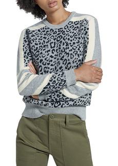 Current/Elliott The Duvall Striped Leopard-Print Sweater