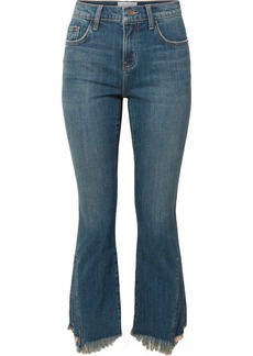 Current/Elliott The Fan Kick Cropped Frayed Mid-rise Flared Jeans