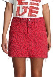 Current/Elliott The Five-Pocket Leopard Mini Skirt