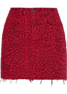 Current/Elliott The Five Pocket Leopard-print Denim Mini Skirt
