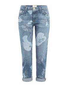 Current/Elliott The Fling Printed Cropped Jeans