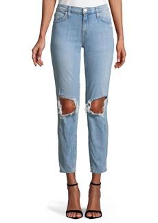 Current/Elliott The Fling Ripped-Knee Denim Jeans  Light Blue