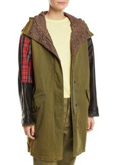 Current/Elliott The Harper Mixed-Media Hooded Parka Jacket