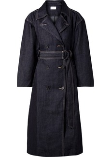 Current/Elliott The Hh Club Belted Double-breasted Denim Trench Coat