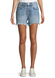 Current/Elliott The His Yours/Mine Back-Graphic Cutoff Denim Shorts