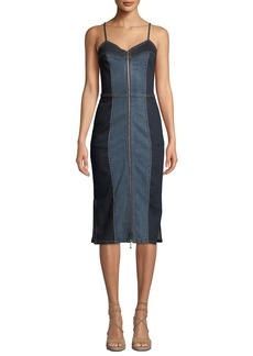 Current/Elliott The Jacqueline Paneled Zip-Front Denim Midi Dress