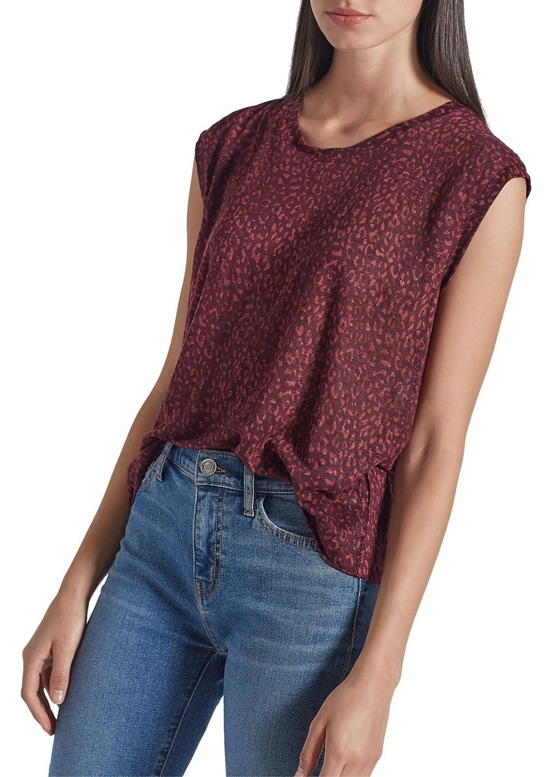 Current/Elliott The Jax Leopard-Print Muscle Tee w/ Half Moon