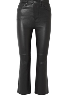 Current/Elliott The Kick Cropped Leather Flared Pants
