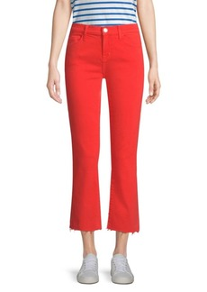 Current/Elliott The Kick Raw Hem Cropped Jeans