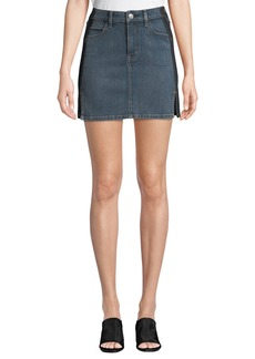Current/Elliott The Mashed Two-Tone Denim Mini Skirt